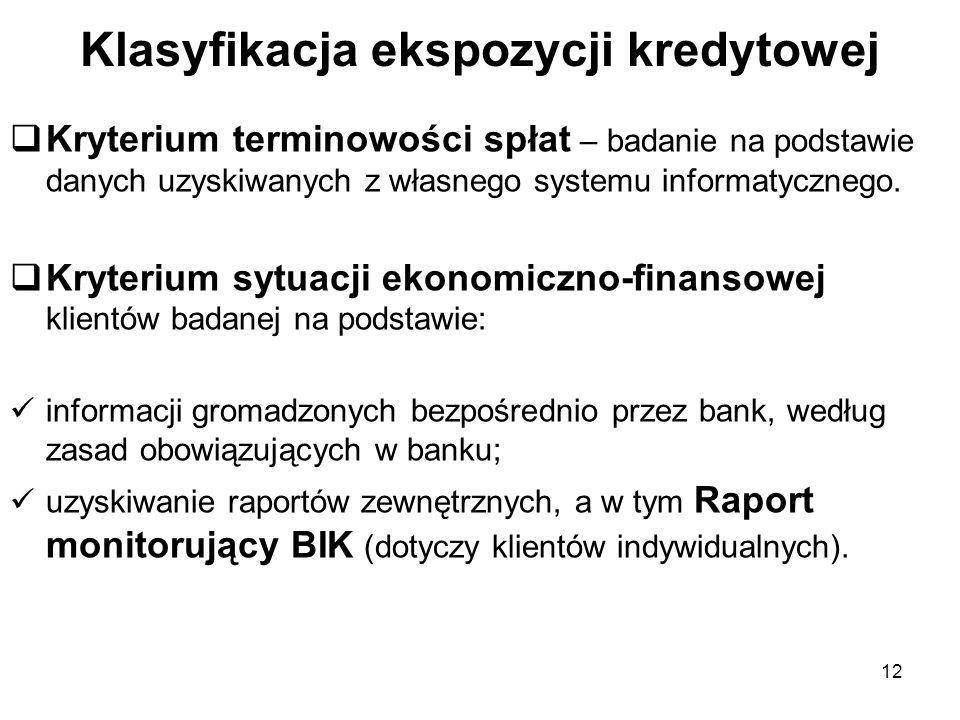 12 Klasyfikacja ekspozycji kredytowej Kryterium terminowości spłat – badanie na podstawie danych uzyskiwanych z własnego systemu informatycznego. Kryt