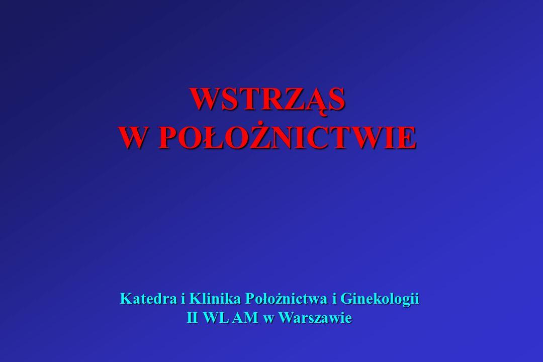 Katedra i Klinika Położnictwa i Ginekologii II WL AM w Warszawie Wstrząs septyczny – leczenie c.d.: Heparyna 2500-5000jm iv, a następnie we wlewie pod kontrolą układu krzepnięcia 100-200 jm/1h lub heparyna drobnocząsteczkowa 12-40 jm co 12h Heparyna 2500-5000jm iv, a następnie we wlewie pod kontrolą układu krzepnięcia 100-200 jm/1h lub heparyna drobnocząsteczkowa 12-40 jm co 12h monitorowanie EKG, oddychania, diurezy monitorowanie EKG, oddychania, diurezy bad.