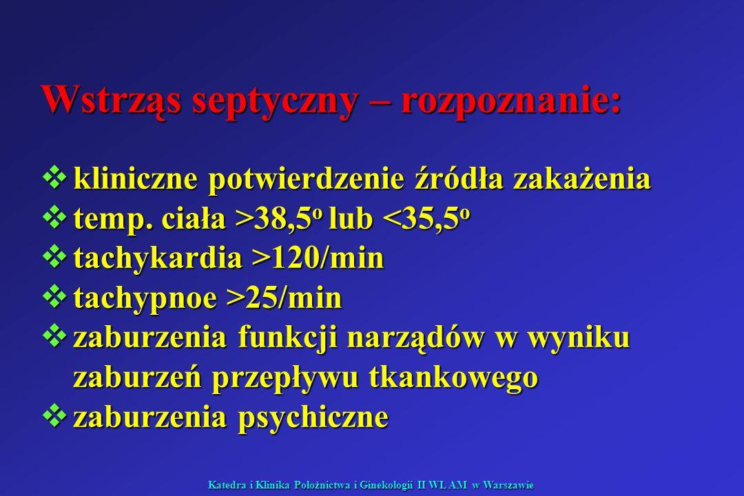 Katedra i Klinika Położnictwa i Ginekologii II WL AM w Warszawie Wstrząs septyczny – rozpoznanie: kliniczne potwierdzenie źródła zakażenia kliniczne p