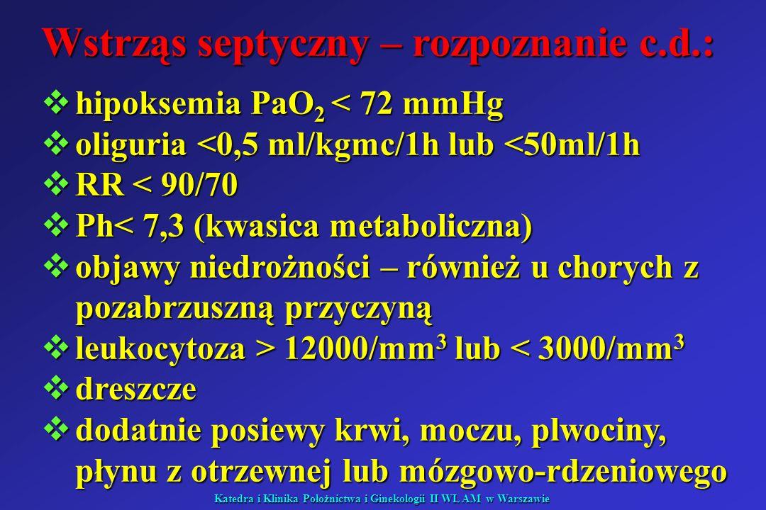 Katedra i Klinika Położnictwa i Ginekologii II WL AM w Warszawie Wstrząs septyczny – rozpoznanie c.d.: hipoksemia PaO 2 < 72 mmHg hipoksemia PaO 2 < 7