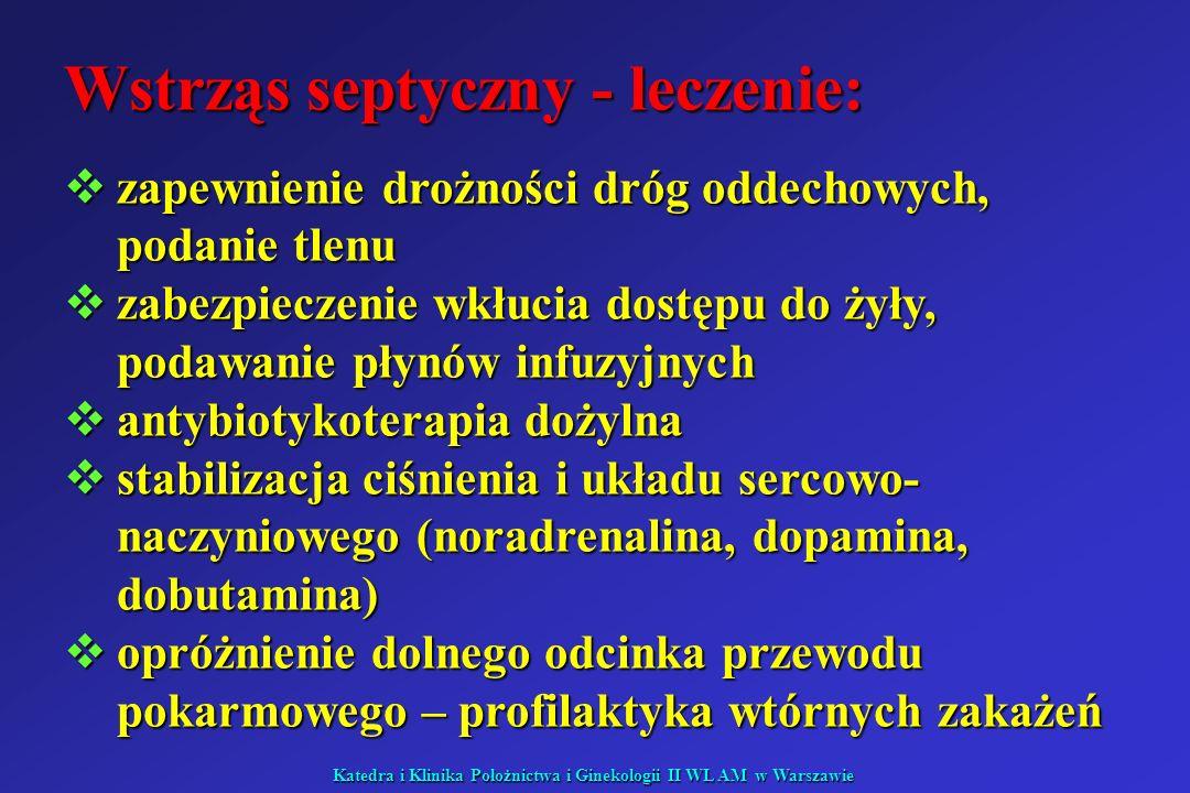 Katedra i Klinika Położnictwa i Ginekologii II WL AM w Warszawie Wstrząs septyczny - leczenie: zapewnienie drożności dróg oddechowych, podanie tlenu z