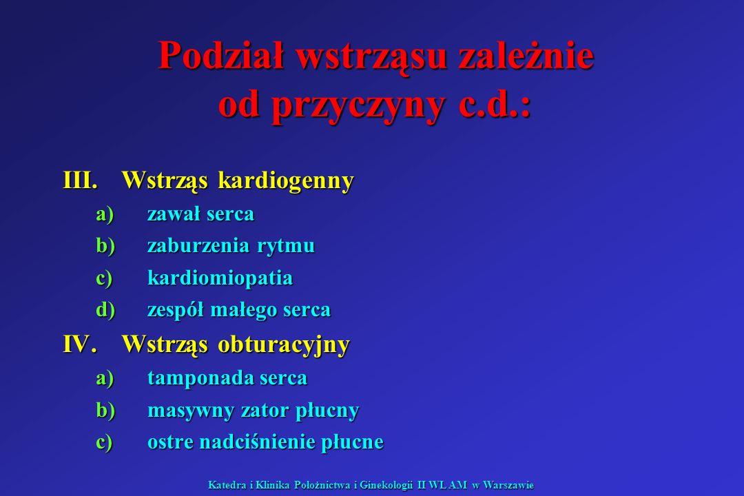 Katedra i Klinika Położnictwa i Ginekologii II WL AM w Warszawie Podział wstrząsu zależnie od przyczyny c.d.: III.Wstrząs kardiogenny a)zawał serca b)