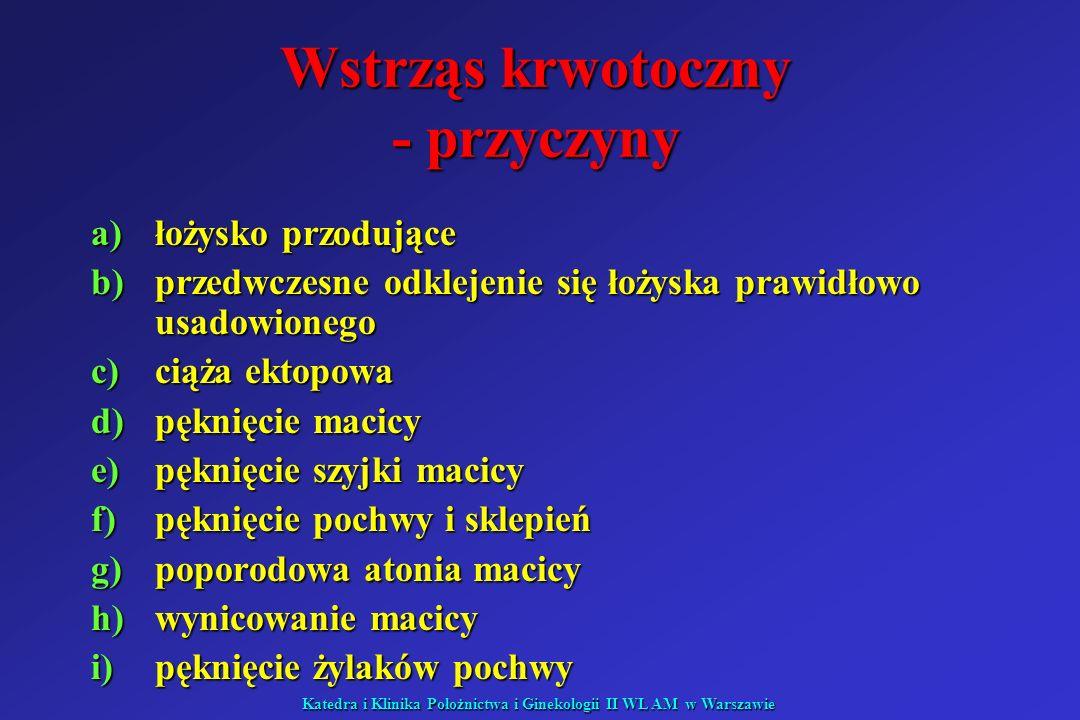 Katedra i Klinika Położnictwa i Ginekologii II WL AM w Warszawie Wstrząs septyczny – rozpoznanie c.d.: hipoksemia PaO 2 < 72 mmHg hipoksemia PaO 2 < 72 mmHg oliguria <0,5 ml/kgmc/1h lub <50ml/1h oliguria <0,5 ml/kgmc/1h lub <50ml/1h RR < 90/70 RR < 90/70 Ph< 7,3 (kwasica metaboliczna) Ph< 7,3 (kwasica metaboliczna) objawy niedrożności – również u chorych z pozabrzuszną przyczyną objawy niedrożności – również u chorych z pozabrzuszną przyczyną leukocytoza > 12000/mm 3 lub 12000/mm 3 lub < 3000/mm 3 dreszcze dreszcze dodatnie posiewy krwi, moczu, plwociny, płynu z otrzewnej lub mózgowo-rdzeniowego dodatnie posiewy krwi, moczu, plwociny, płynu z otrzewnej lub mózgowo-rdzeniowego