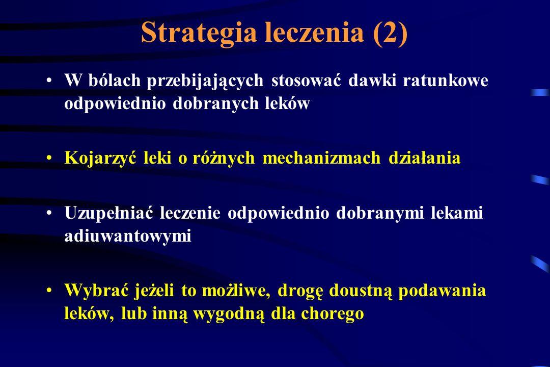 Strategia leczenia (1) Dawki i rodzaje leków dobierać indywidualnie dla każdego chorego i jego rodzaju/ów bólu Utrzymywać stałe stężenie terapeutyczne