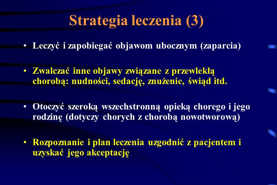 Strategia leczenia (2) W bólach przebijających stosować dawki ratunkowe odpowiednio dobranych leków Kojarzyć leki o różnych mechanizmach działania Uzu