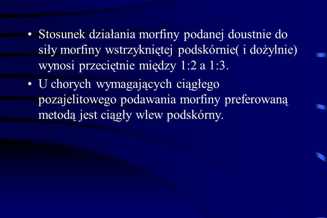 Chorzy z uśmierzonym bólem, otrzymujący regularnie morfinę doustnie w stałej dawce, powinni być zaopatrzeni w dawki ratujące na wypadek wystąpienia bó