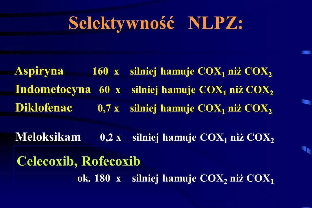 MECHANIZM DZIAŁANIA NLPZ FOSFOLIPIDY KW. ARACHIDONOWY LEUKOTRIENY 5-HETE, 5-HPETE COX-1, COX-2 ENDONADTLENKI TROMBOKSAN A 2 PROSTACYKLINA PROSTAGLANDY