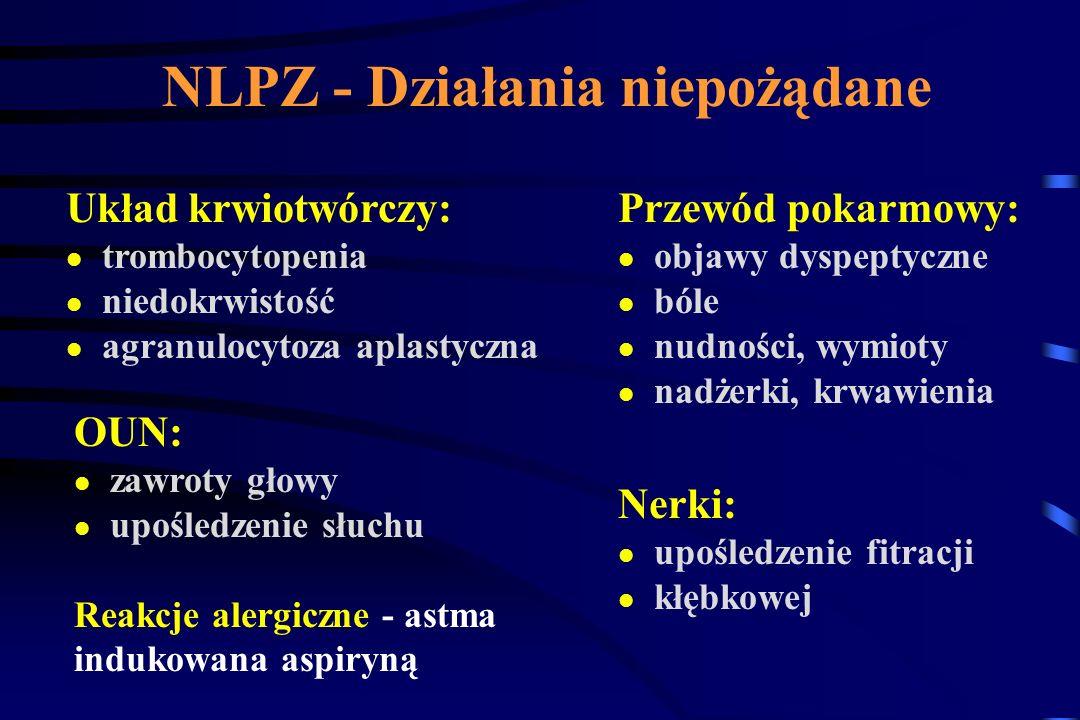 NLPZ - najbardziej toksyczne leki Zapobiegać - nie znaczy uniknąć Czynniki ryzyka: 1.Leczenie steroidami 2.Wiek powyżej 65 lat 3.Leczenie przeciwzakrz