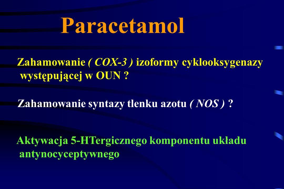 Metamizol (Pyralgina) Ośrodkowo hamuje syntezę prostaglandyn: (mechanizm główny), poprzez blokowanie COX-3 silne działanie przeciwbólowe i przeciwgorą