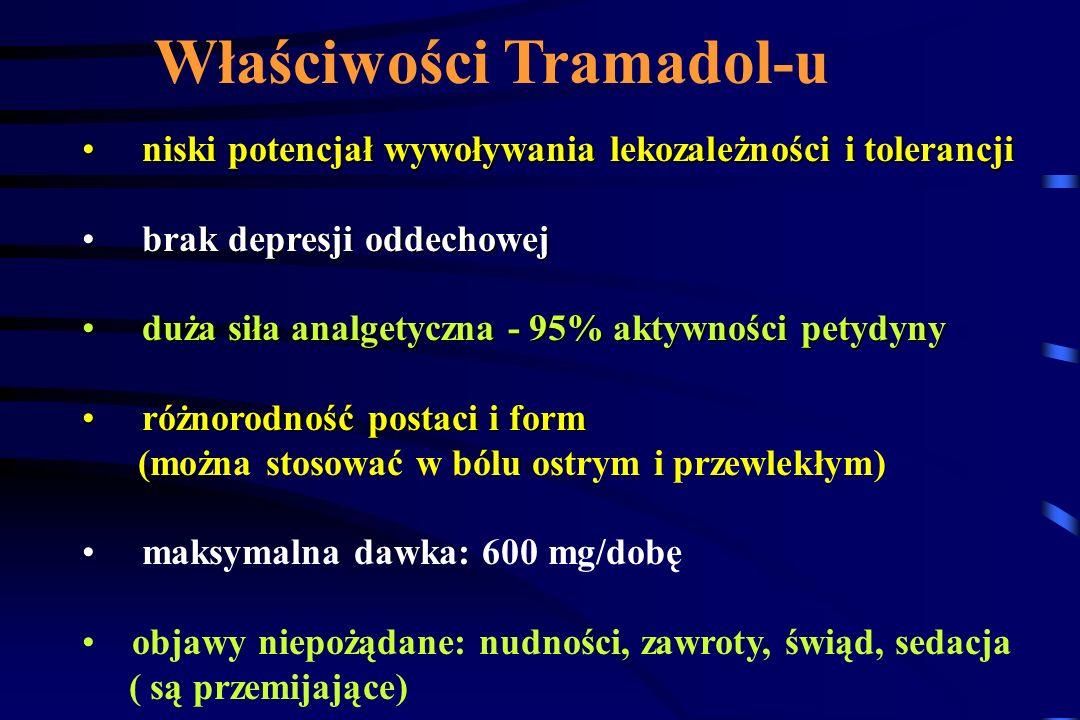 TRAMADOL podwójny mechanizm działania opioidowy i nieopioidowy 40% - 60% małe powinowactwo do receptora opioidowego µ 6000 razy mniejsze niż morfina O