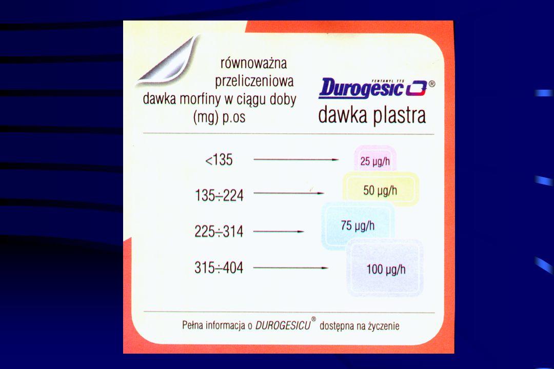 Fentanyl - system przezskórny TTS (wprowadzony w Polsce w 1998r) Dzięki małej masie cząsteczkowej i dobrej rozpuszczalności w tłuszczach nadaje się do