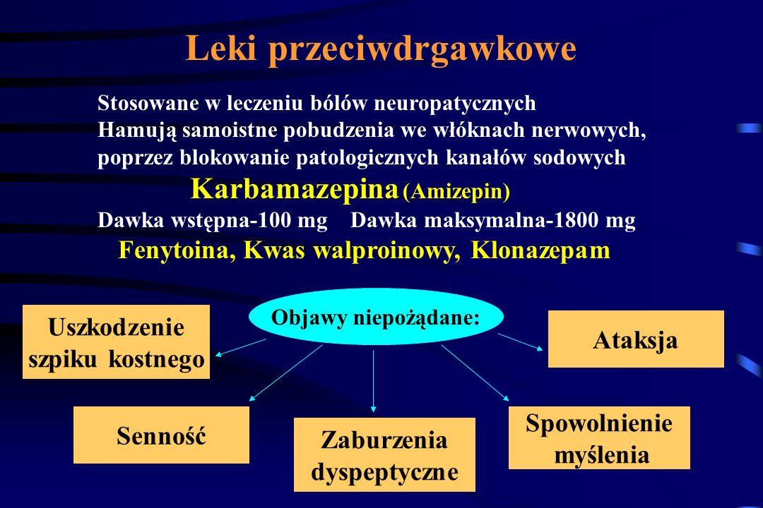 Amitryptylina Imipramina Doksepina Objawy niepożądane: Dawka wstępna - 10 mg, Dawka maksymalna- 75 mg/24 godz. Suchość w ustach Tachykardia (50% leczo