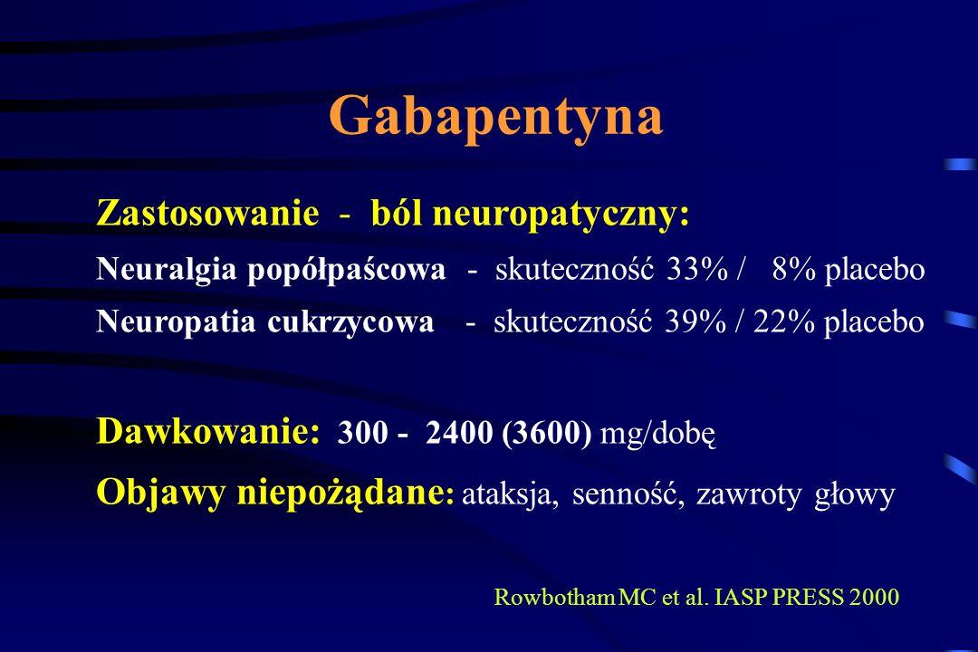 Gabapentyna Ca ++ VGCC GBP? NMDA VGCC Glutaminiany SP, CGRP GBP? GPB - działanie na podjednostkę 2 VGCC Pośredni wzrost stężenia GABA - zablokowanie d
