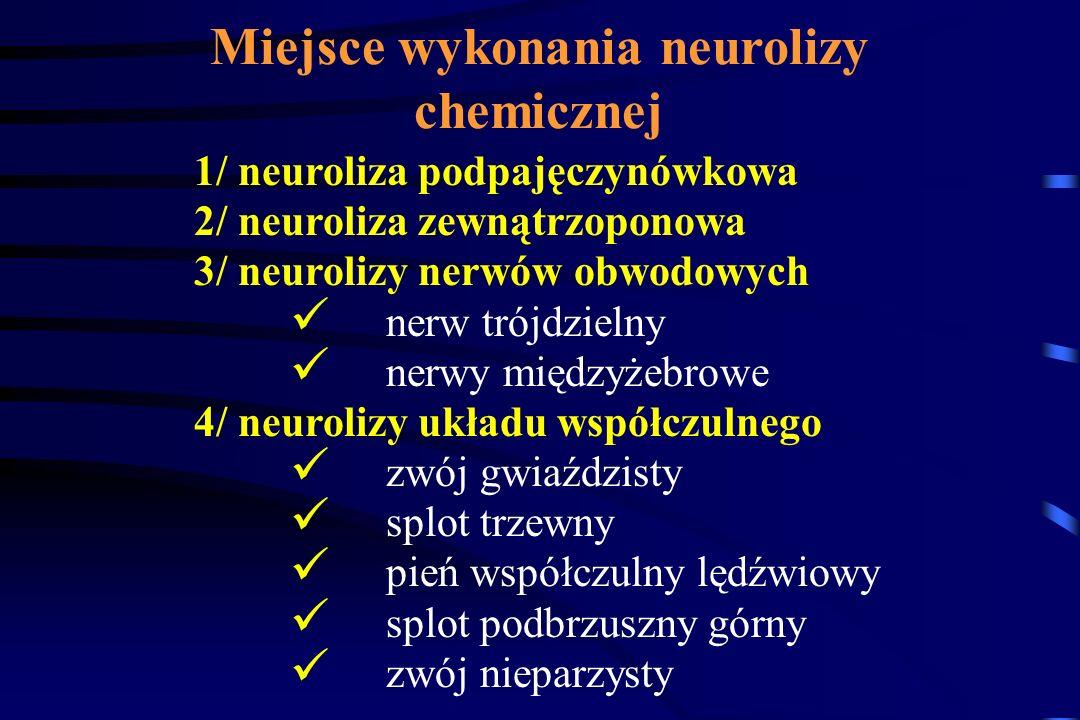 W przypadkach, w których postępowanie wg. schematu jest nieskuteczne należy skierować chorego do poradni leczenia bólu, gdzie jest możliwość zastosowa