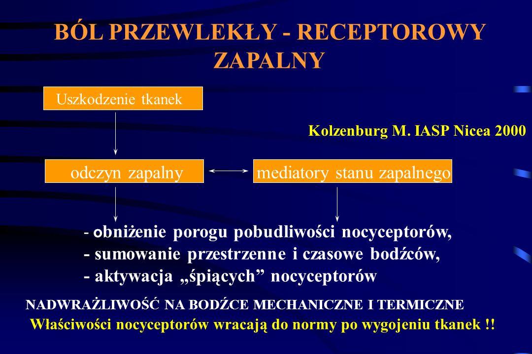 Gabapentyna Zastosowanie - ból neuropatyczny: Neuralgia popółpaścowa - skuteczność 33% / 8% placebo Neuropatia cukrzycowa - skuteczność 39% / 22% placebo Dawkowanie: 300 - 2400 (3600) mg/dobę Objawy niepożądane : ataksja, senność, zawroty głowy Rowbotham MC et al.