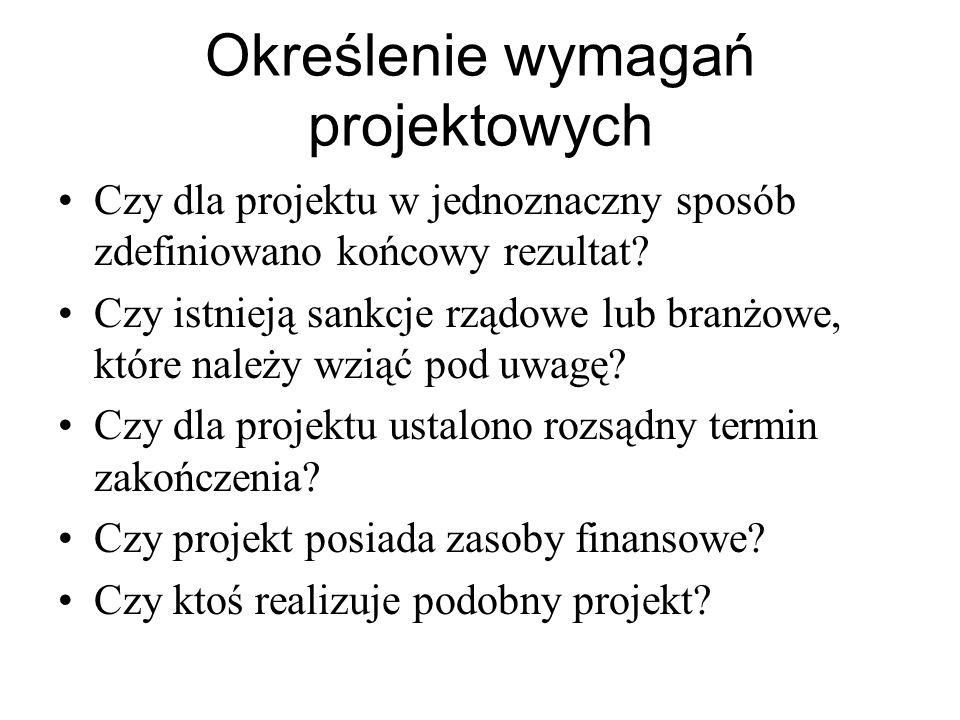 Określenie wymagań projektowych Czy dla projektu w jednoznaczny sposób zdefiniowano końcowy rezultat? Czy istnieją sankcje rządowe lub branżowe, które