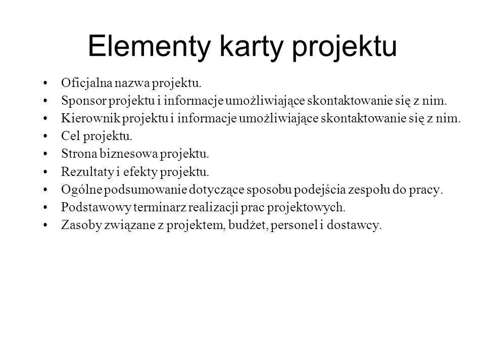 Elementy karty projektu Oficjalna nazwa projektu. Sponsor projektu i informacje umożliwiające skontaktowanie się z nim. Kierownik projektu i informacj