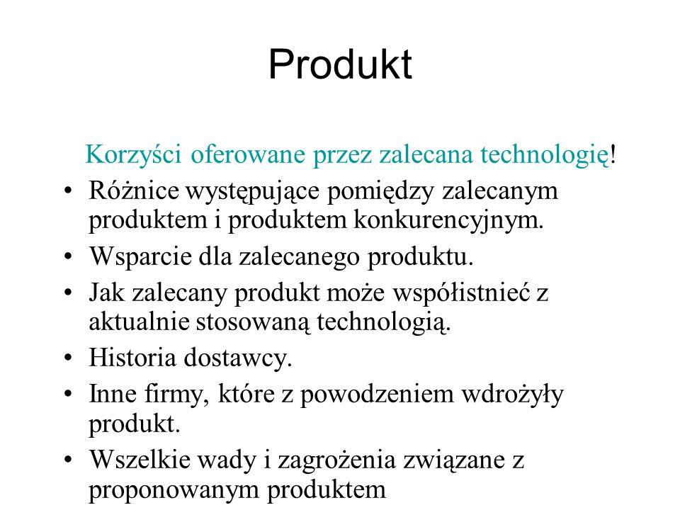 Produkt Korzyści oferowane przez zalecana technologię! Różnice występujące pomiędzy zalecanym produktem i produktem konkurencyjnym. Wsparcie dla zalec