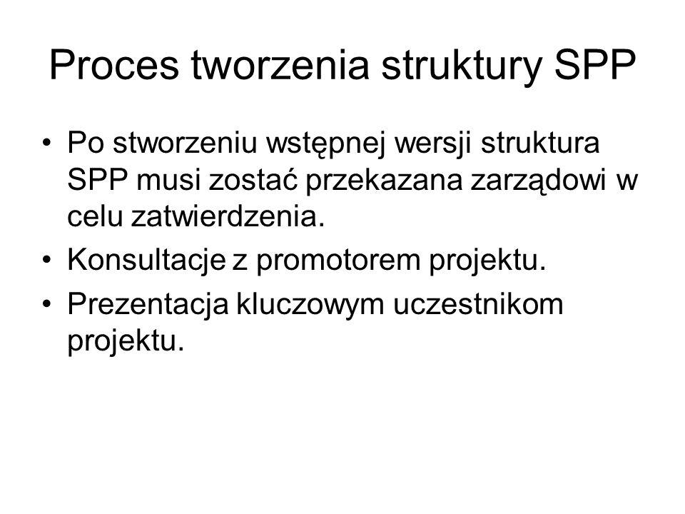 Proces tworzenia struktury SPP Po stworzeniu wstępnej wersji struktura SPP musi zostać przekazana zarządowi w celu zatwierdzenia. Konsultacje z promot