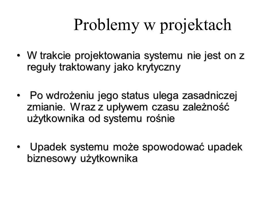 Problemy w projektach W trakcie projektowania systemu nie jest on z reguły traktowany jako krytycznyW trakcie projektowania systemu nie jest on z regu