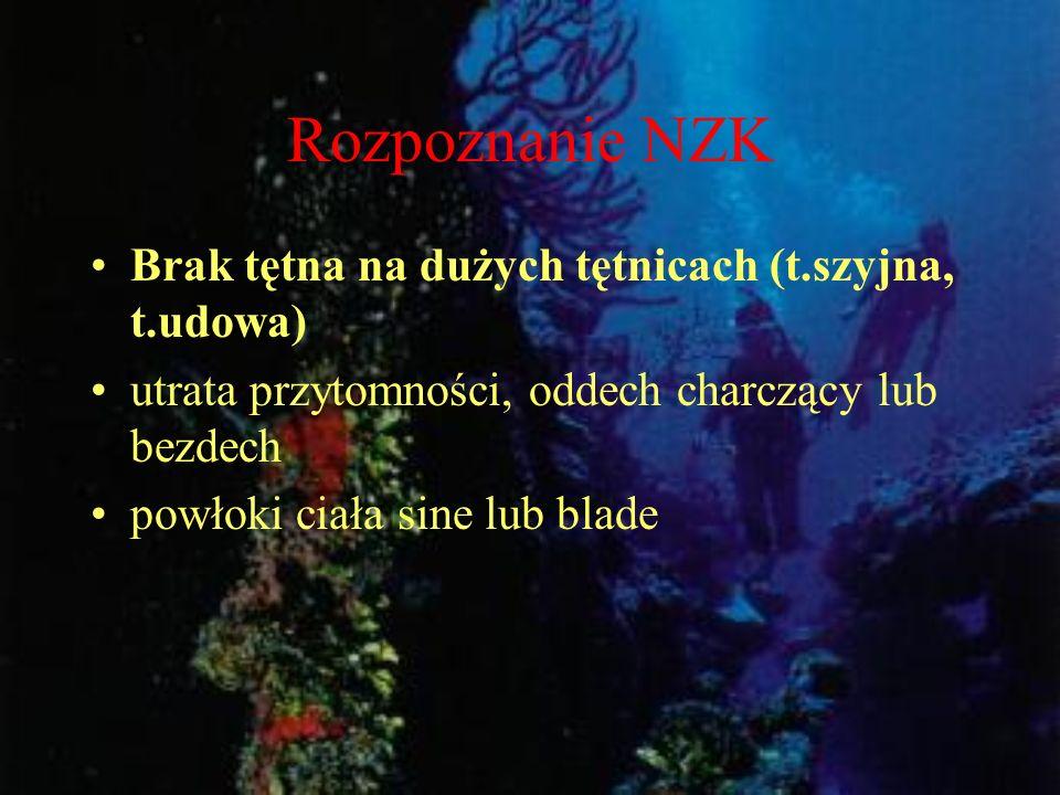 Rozpoznanie NZK Brak tętna na dużych tętnicach (t.szyjna, t.udowa) utrata przytomności, oddech charczący lub bezdech powłoki ciała sine lub blade
