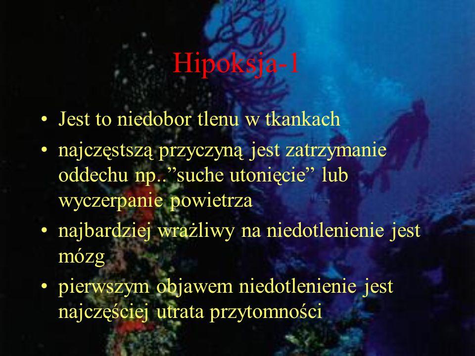 Hipoksja-1 Jest to niedobor tlenu w tkankach najczęstszą przyczyną jest zatrzymanie oddechu np..suche utonięcie lub wyczerpanie powietrza najbardziej