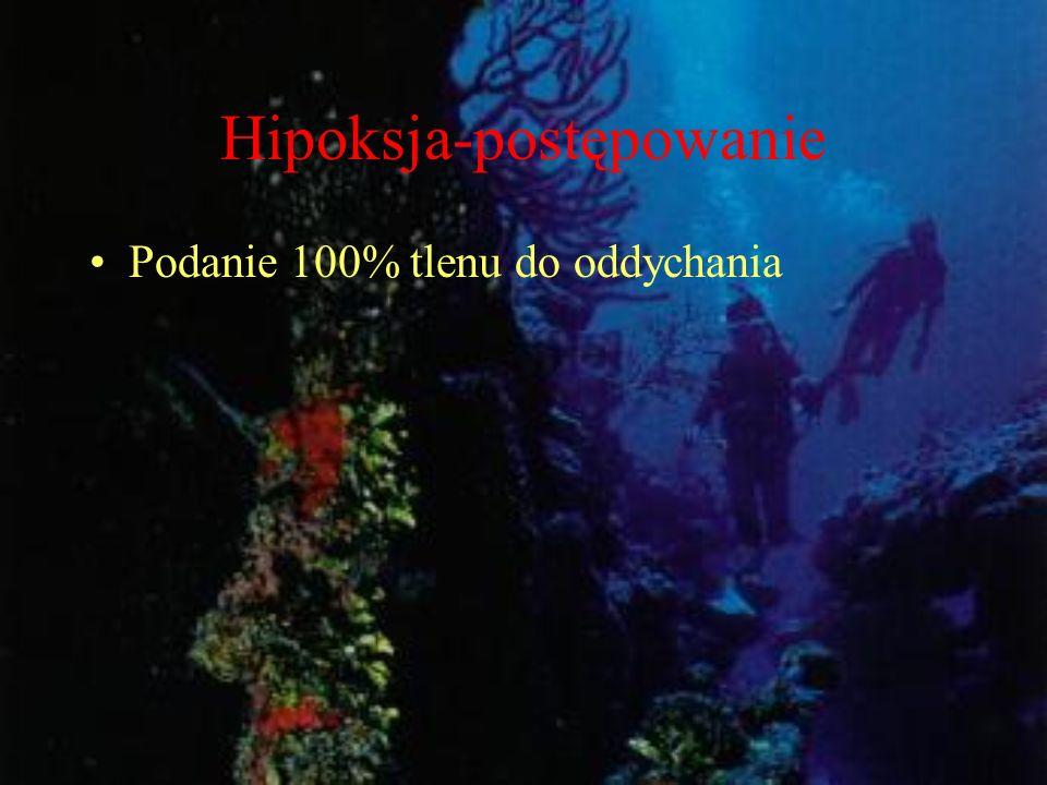 Hipoksja-postępowanie Podanie 100% tlenu do oddychania