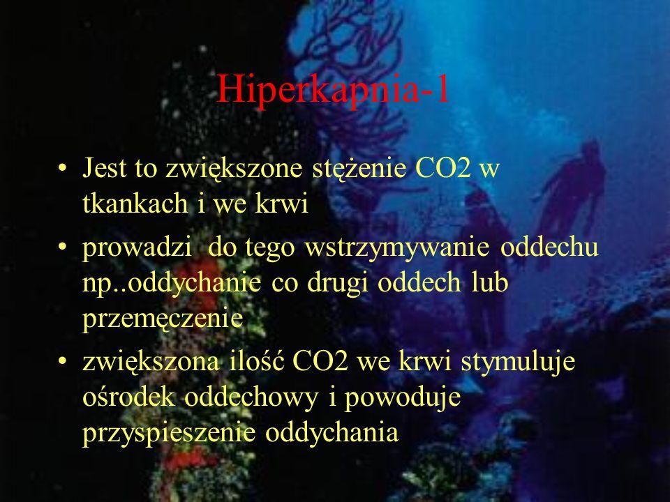 Hiperkapnia-1 Jest to zwiększone stężenie CO2 w tkankach i we krwi prowadzi do tego wstrzymywanie oddechu np..oddychanie co drugi oddech lub przemęcze