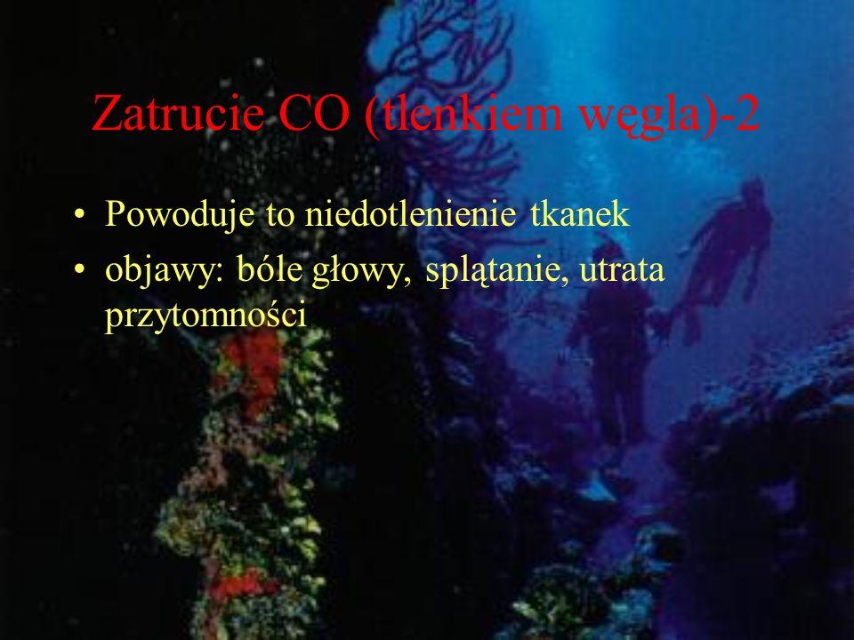 Zatrucie CO (tlenkiem węgla)-2 Powoduje to niedotlenienie tkanek objawy: bóle głowy, splątanie, utrata przytomności