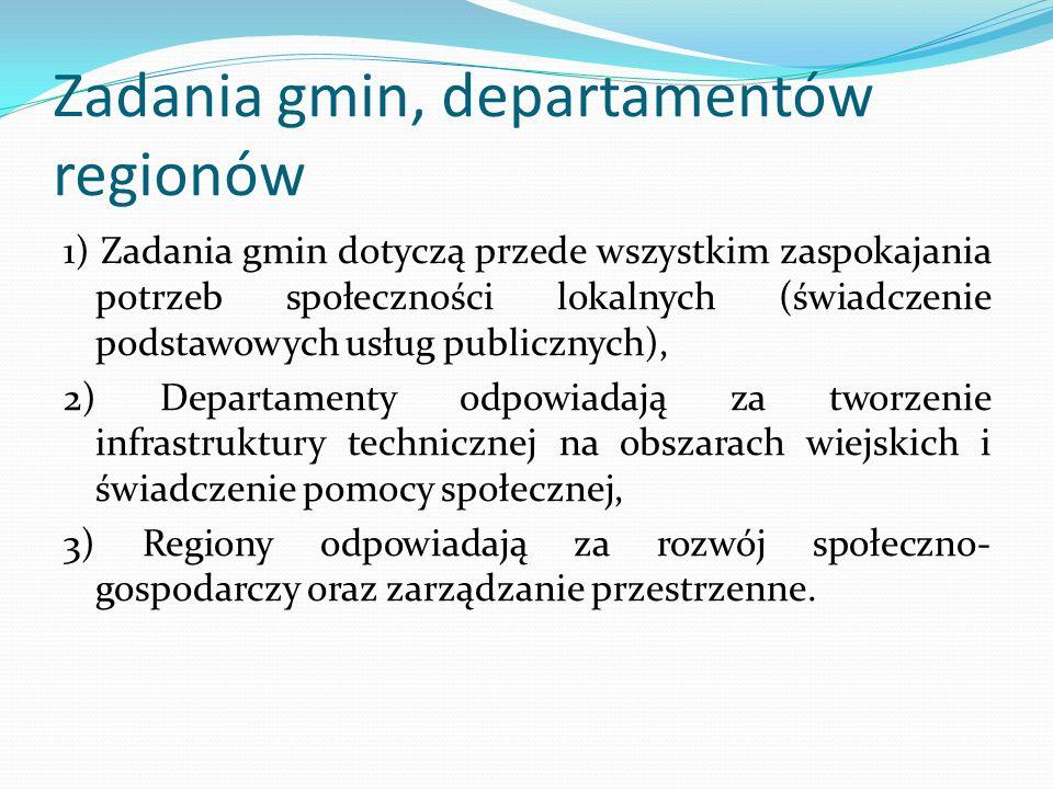 Zadania gmin, departamentów regionów 1) Zadania gmin dotyczą przede wszystkim zaspokajania potrzeb społeczności lokalnych (świadczenie podstawowych us