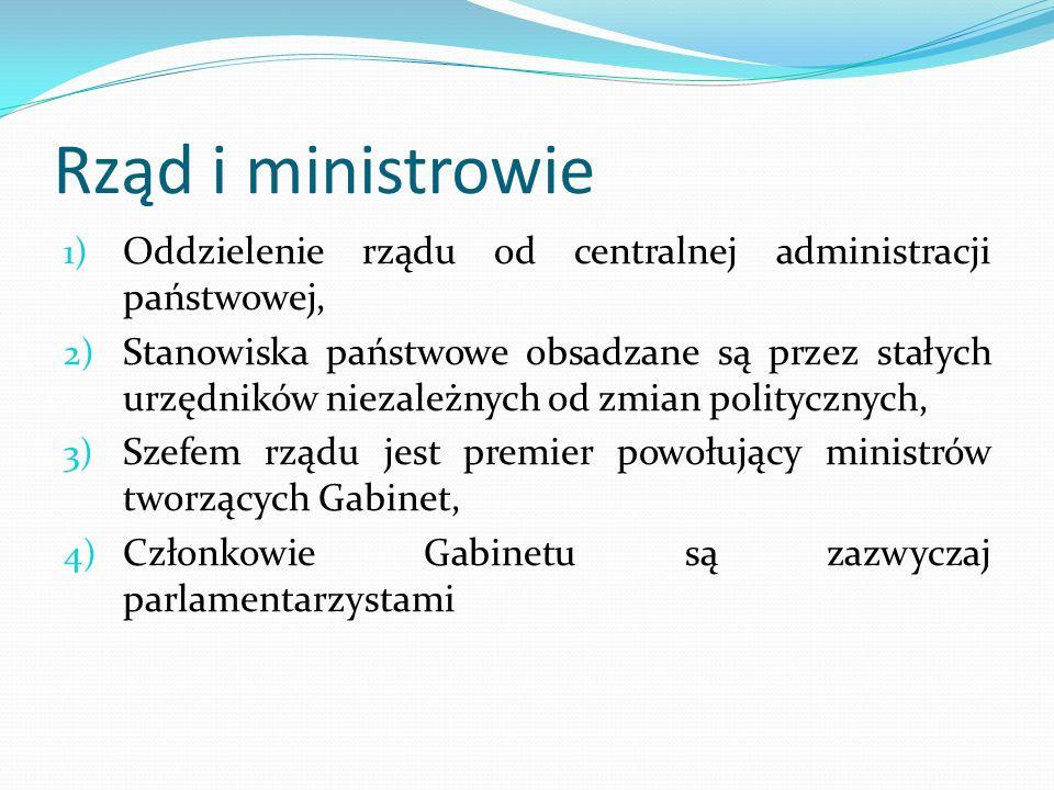 Rząd i ministrowie 1) Oddzielenie rządu od centralnej administracji państwowej, 2) Stanowiska państwowe obsadzane są przez stałych urzędników niezależ