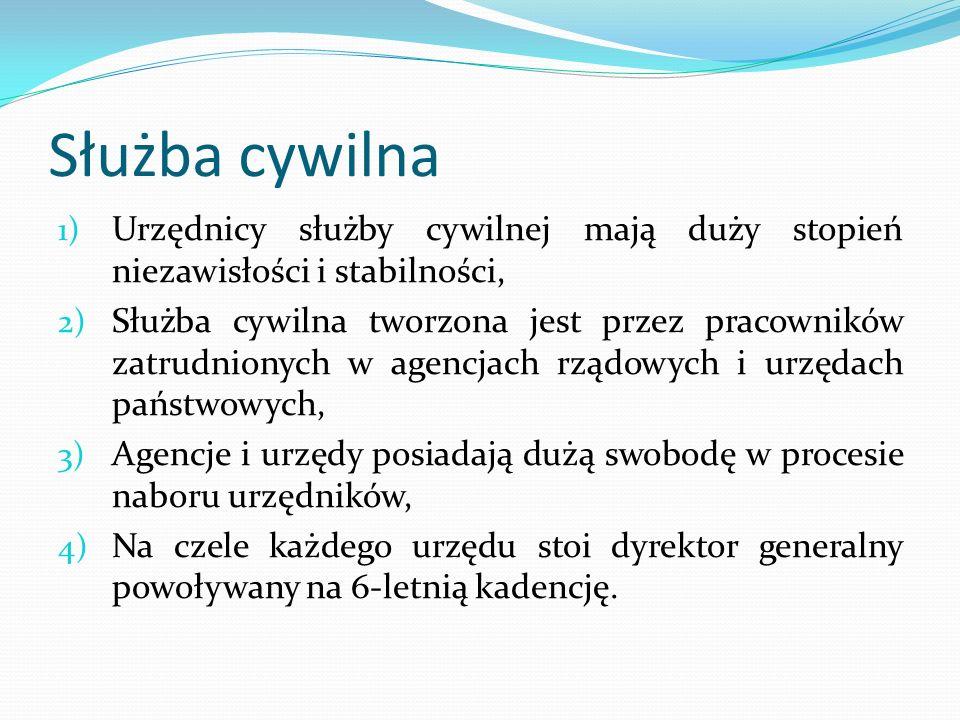 Służba cywilna 1) Urzędnicy służby cywilnej mają duży stopień niezawisłości i stabilności, 2) Służba cywilna tworzona jest przez pracowników zatrudnio