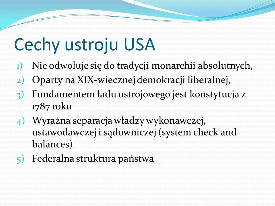 Cechy ustroju USA 1) Nie odwołuje się do tradycji monarchii absolutnych, 2) Oparty na XIX-wiecznej demokracji liberalnej, 3) Fundamentem ładu ustrojow