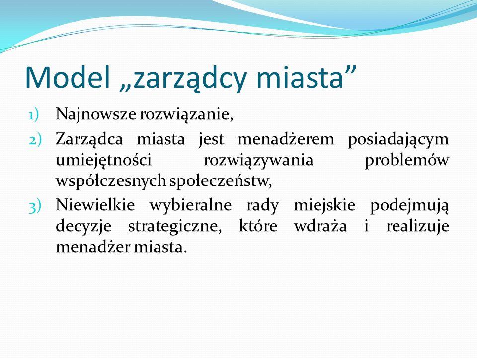 Model zarządcy miasta 1) Najnowsze rozwiązanie, 2) Zarządca miasta jest menadżerem posiadającym umiejętności rozwiązywania problemów współczesnych spo