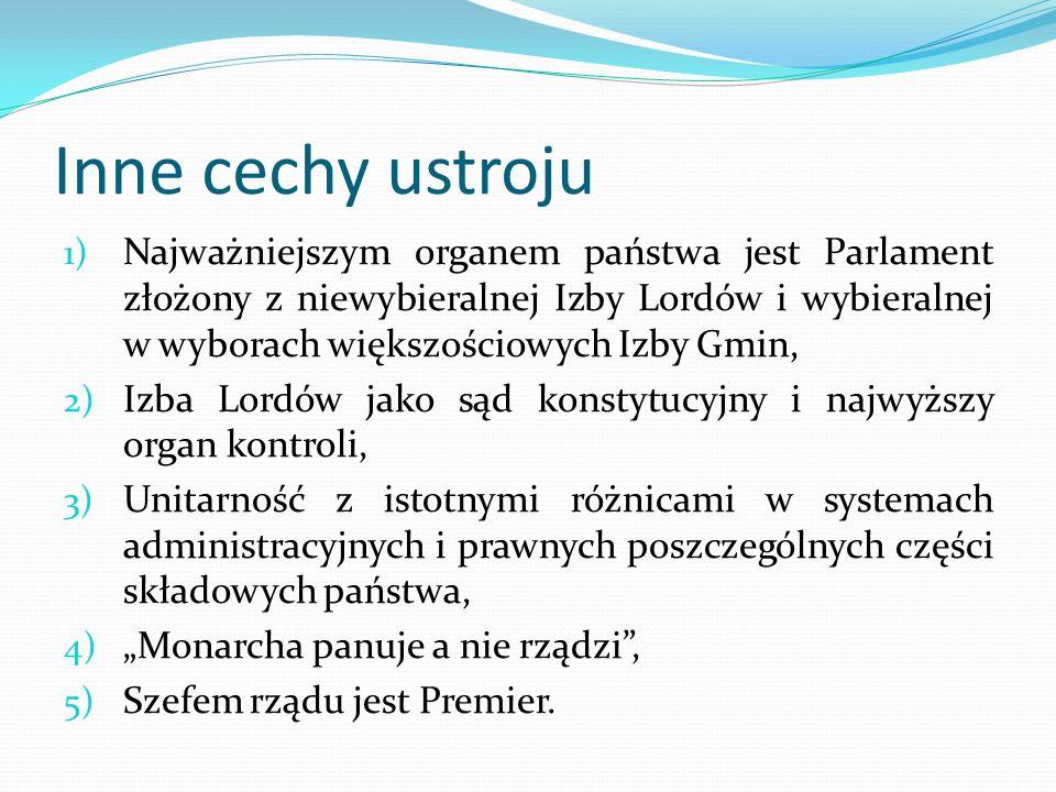 Inne cechy ustroju 1) Najważniejszym organem państwa jest Parlament złożony z niewybieralnej Izby Lordów i wybieralnej w wyborach większościowych Izby
