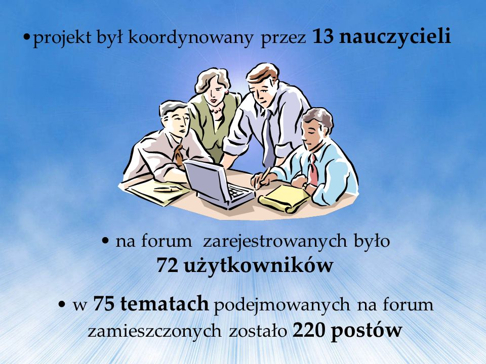 na forum zarejestrowanych było 72 użytkowników w 75 tematach podejmowanych na forum zamieszczonych zostało 220 postów projekt był koordynowany przez 1