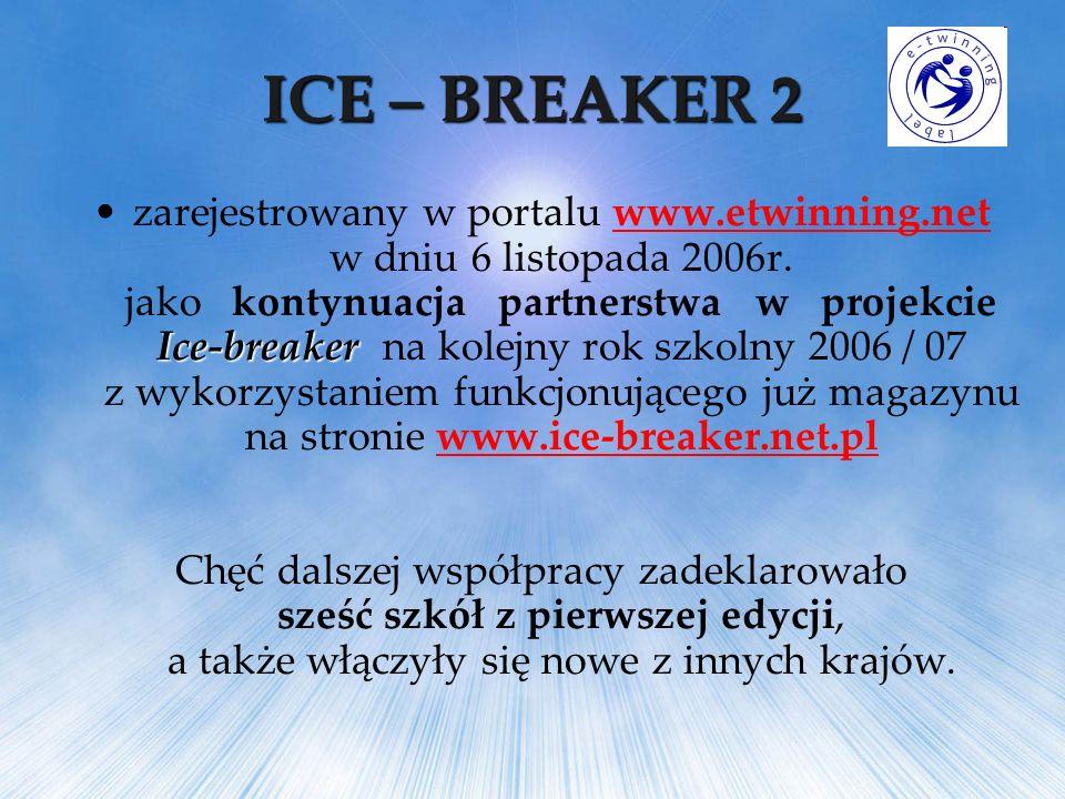 ICE – BREAKER 2 Ice-breakerzarejestrowany w portalu www.etwinning.net w dniu 6 listopada 2006r. jako kontynuacja partnerstwa w projekcie Ice-breaker n