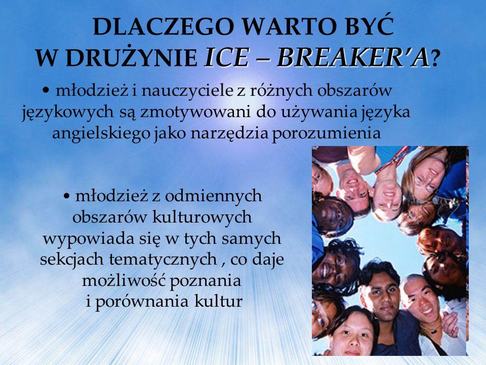 młodzież i nauczyciele z różnych obszarów językowych są zmotywowani do używania języka angielskiego jako narzędzia porozumienia ICE – BREAKERA DLACZEG