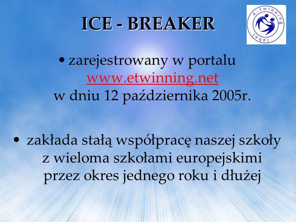 ICE - BREAKER zarejestrowany w portalu www.etwinning.net w dniu 12 października 2005r. www.etwinning.net zakłada stałą współpracę naszej szkoły z wiel