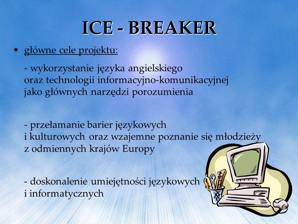 ICE - BREAKER główne cele projektu: - wykorzystanie języka angielskiego oraz technologii informacyjno-komunikacyjnej jako głównych narzędzi porozumien