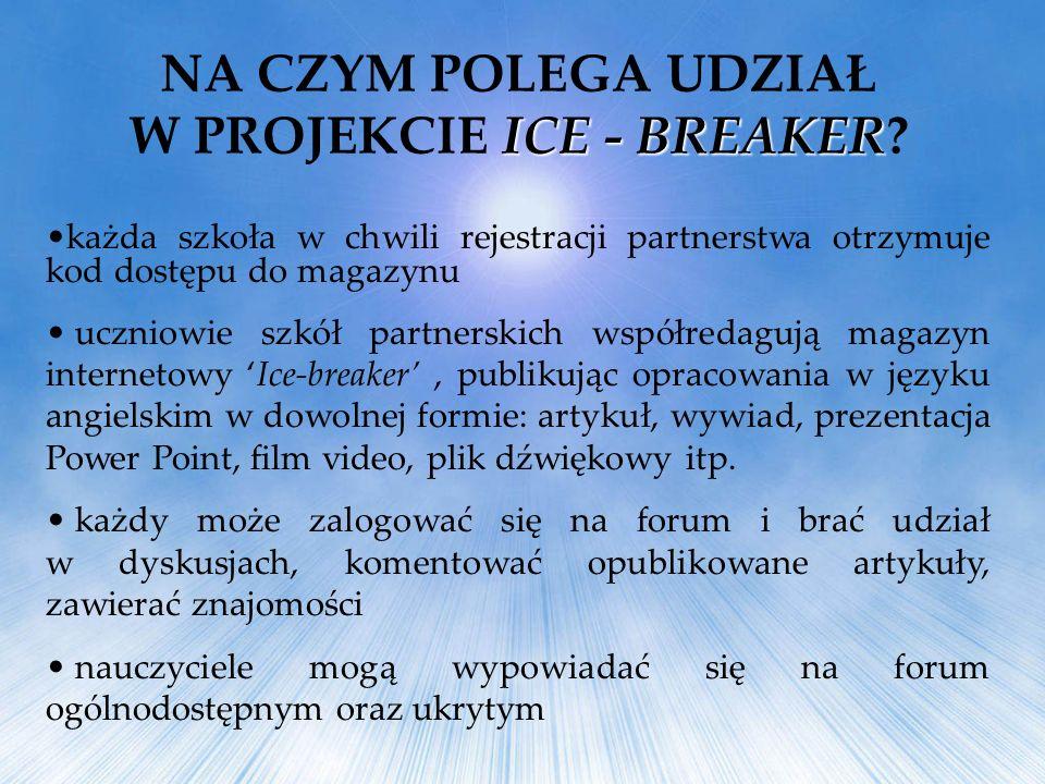 każda szkoła w chwili rejestracji partnerstwa otrzymuje kod dostępu do magazynu uczniowie szkół partnerskich współredagują magazyn internetowy Ice-bre