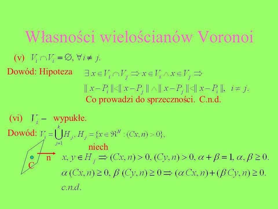 Własności wielościanów Voronoi (v) Dowód: Hipoteza Co prowadzi do sprzeczności. C.n.d. (vi)wypukłe. Dowód: C n niech