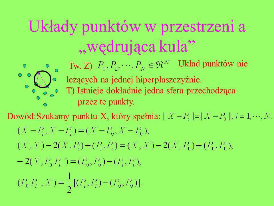 Układy punktów w przestrzeni a wędrująca kula Tw. Z) Układ punktów nie leżących na jednej hiperpłaszczyźnie. T) Istnieje dokładnie jedna sfera przecho