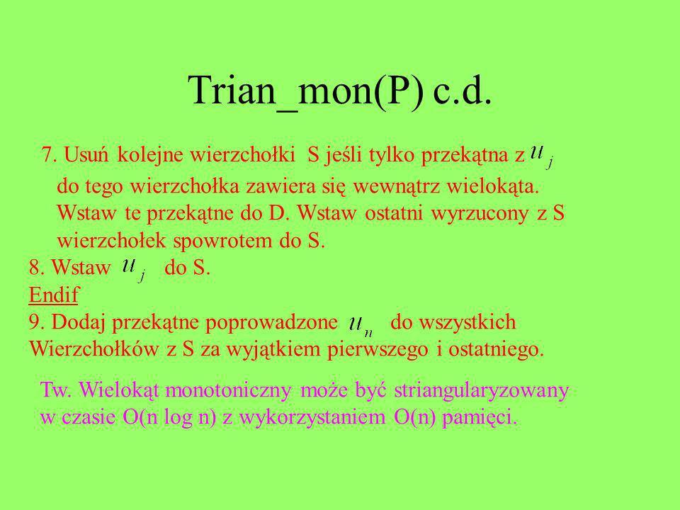 Trian_mon(P) c.d. 7. Usuń kolejne wierzchołki S jeśli tylko przekątna z do tego wierzchołka zawiera się wewnątrz wielokąta. Wstaw te przekątne do D. W