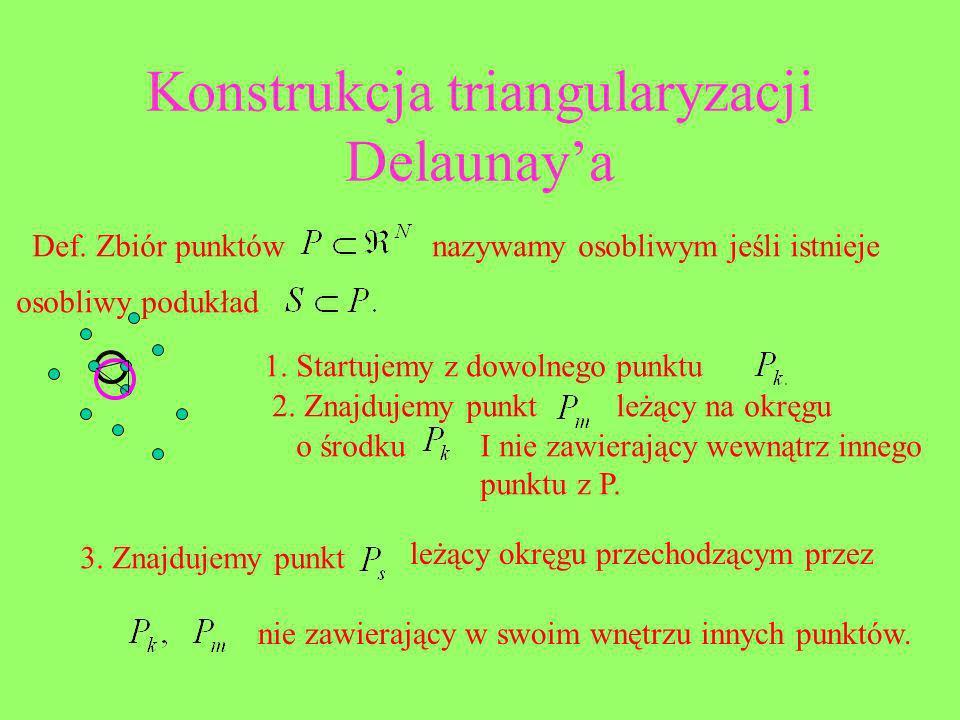 Konstrukcja triangularyzacji Delaunaya Def. Zbiór punktównazywamy osobliwym jeśli istnieje osobliwy podukład 1. Startujemy z dowolnego punktu 2. Znajd