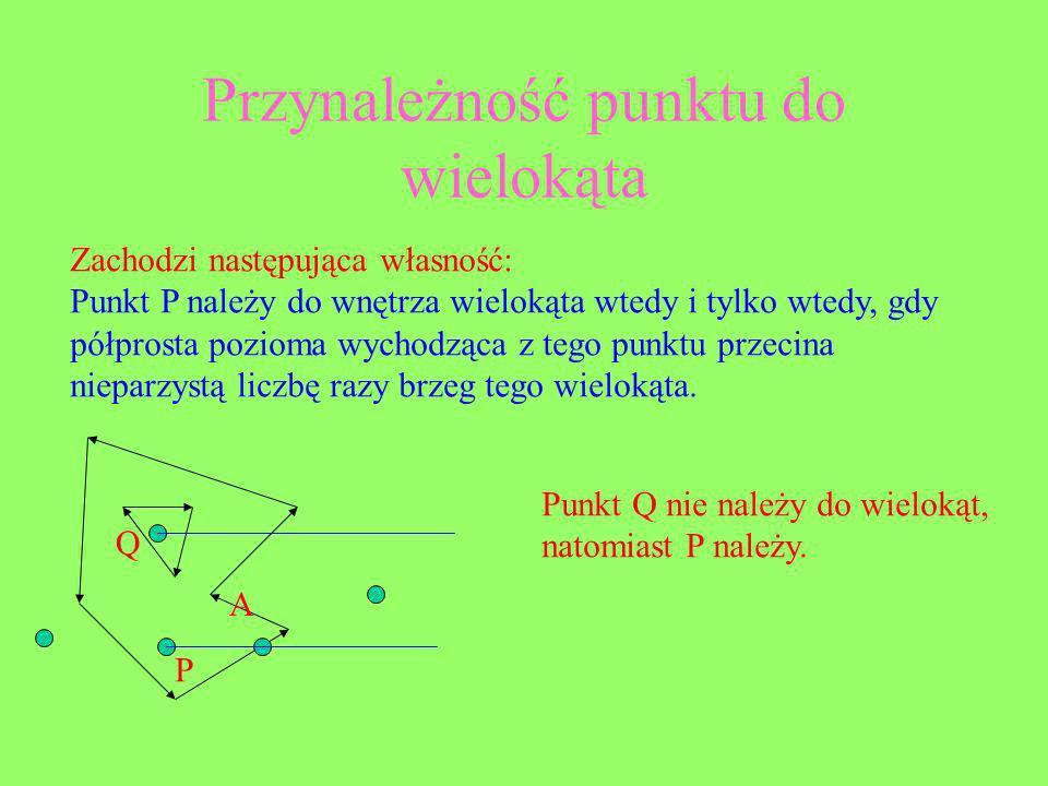 Przynależność punktu do wielokąta Zachodzi następująca własność: Punkt P należy do wnętrza wielokąta wtedy i tylko wtedy, gdy półprosta pozioma wychod