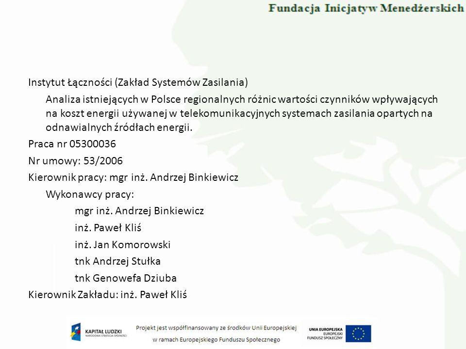 Instytut Łączności (Zakład Systemów Zasilania) Analiza istniejących w Polsce regionalnych różnic wartości czynników wpływających na koszt energii używ
