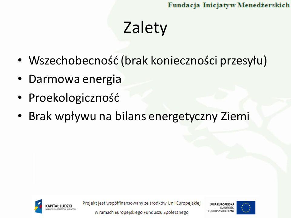Zalety Wszechobecność (brak konieczności przesyłu) Darmowa energia Proekologiczność Brak wpływu na bilans energetyczny Ziemi