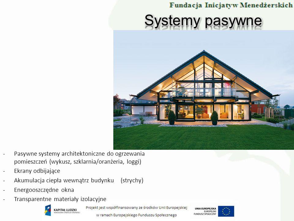 -Pasywne systemy architektoniczne do ogrzewania pomieszczeń (wykusz, szklarnia/oranżeria, loggi) -Ekrany odbijające -Akumulacja ciepła wewnątrz budynk