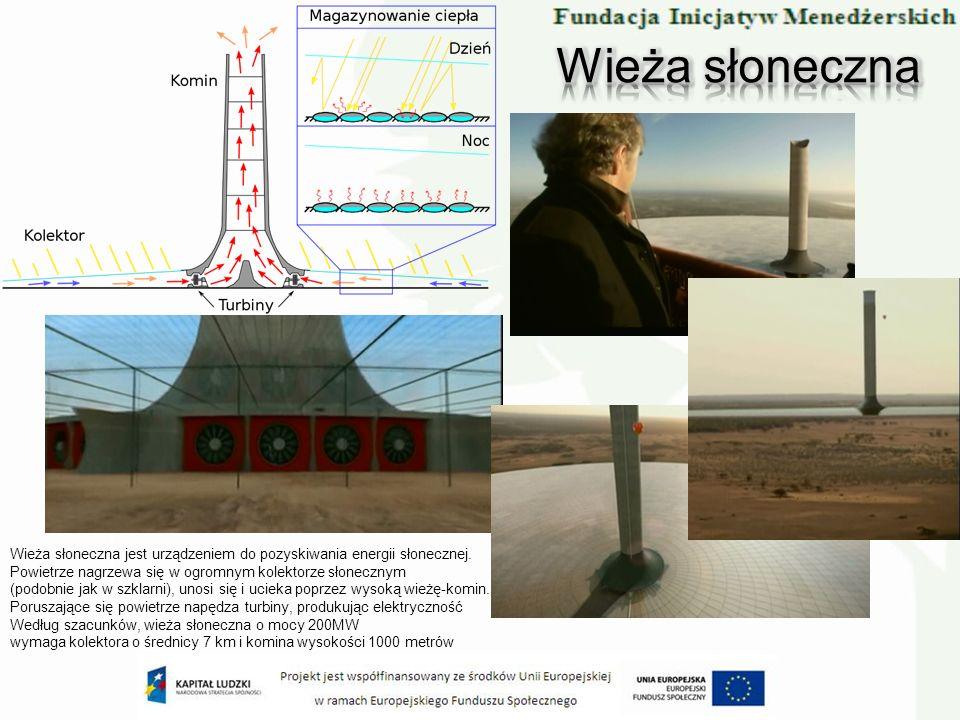 Wieża słoneczna jest urządzeniem do pozyskiwania energii słonecznej. Powietrze nagrzewa się w ogromnym kolektorze słonecznym (podobnie jak w szklarni)